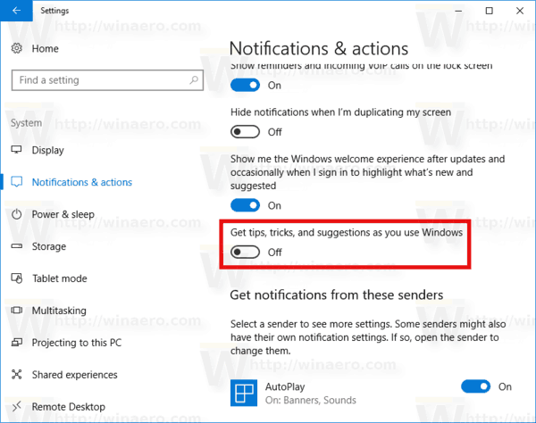Disable Suggestions As You Use Windows
