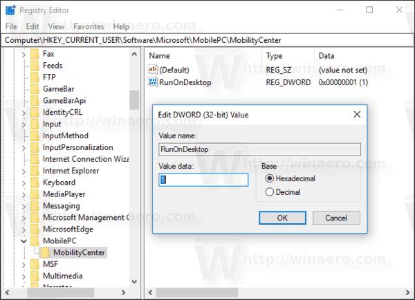 Enable Mobility Center On Desktop