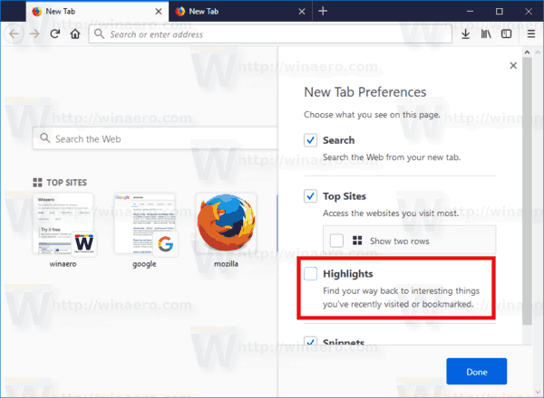 Firefox Disable New Tab Page Highlights