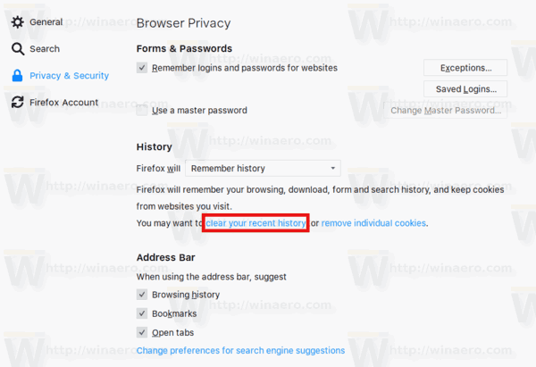 Firefox Clear History Link