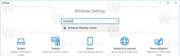 Open Mobility Center Windows 10 Settings
