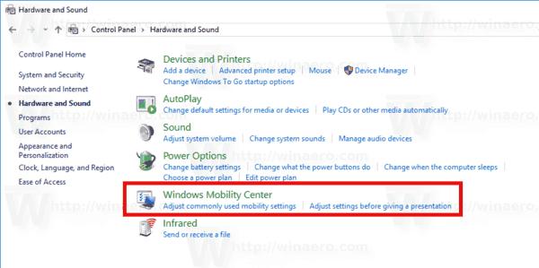 Open Mobility Center Windows 10 Control Panel