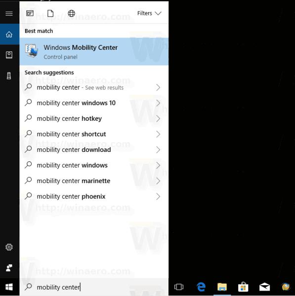 Open Mobility Center Windows 10 Cortana