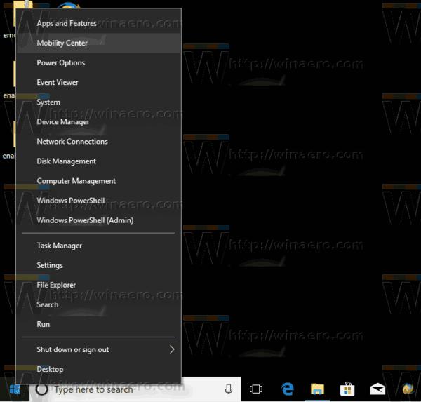 Open Mobility Center Windows 10 Winx
