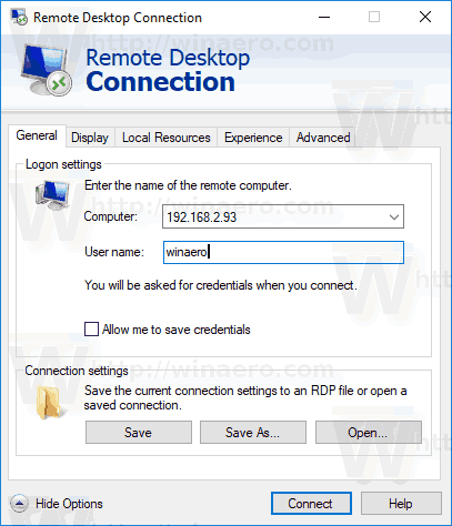 Save Remote Desktop Connection Settings to RDP File in Windows