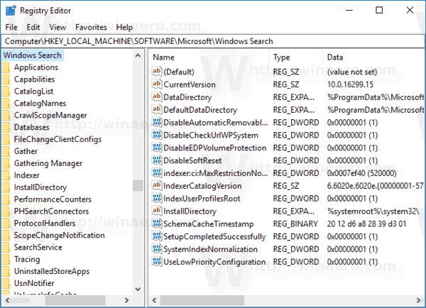 Search Options Registry Key