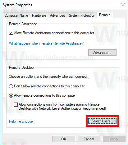 Select Users Button RDP
