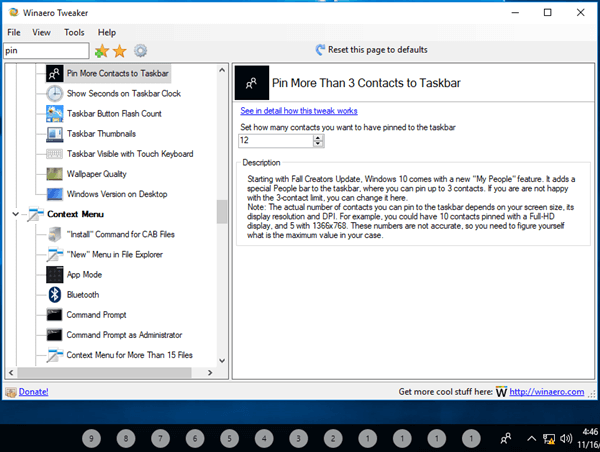 Tweaker Pin More Contacts To Taskbar