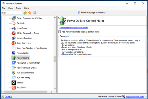 Tweaker Power Options Context Menu