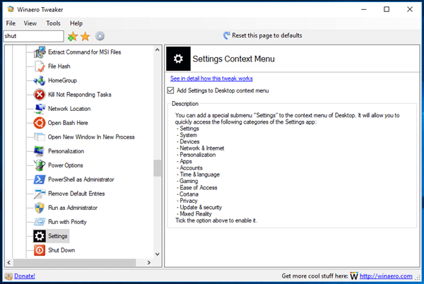 Tweaker Settings Context Menu