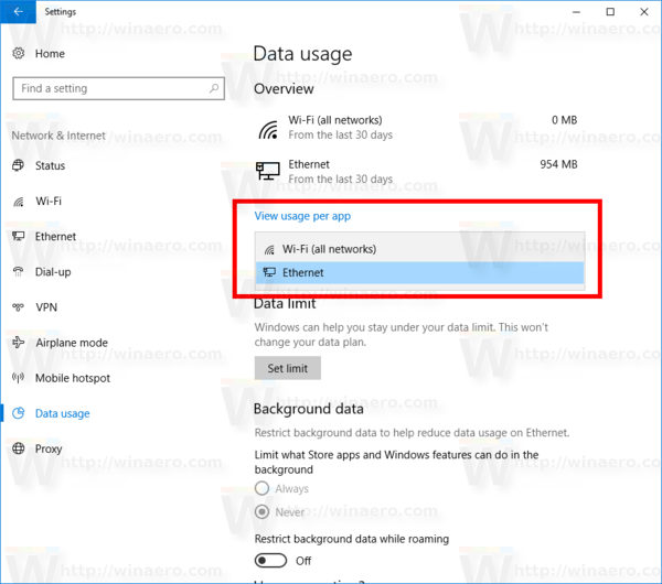 Windows 10 Data Usage Per Network