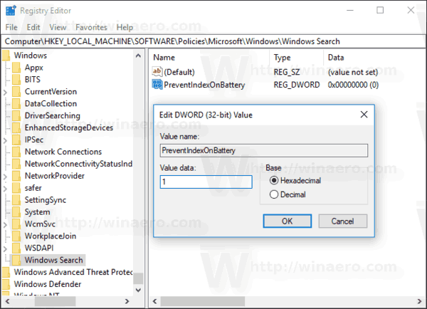 Windows 10 Disable Search Indexing On Battery