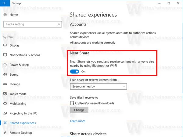 Windows 10 Enable Near Share
