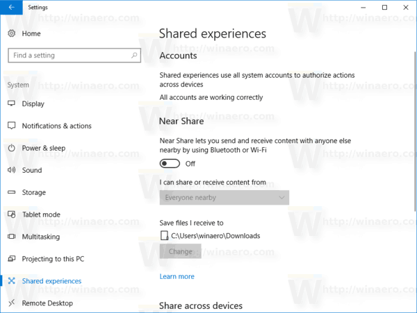Windows 10 Settings Shared Experiences