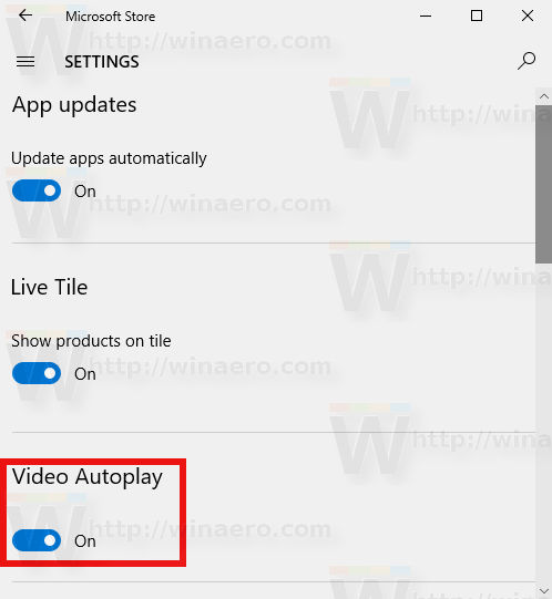 Windows 10 Store Disable Autoplay