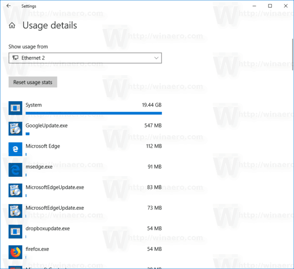 Windows 10 View Network Data Usage Per App