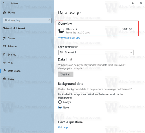 Windows 10 View Network Data Usage