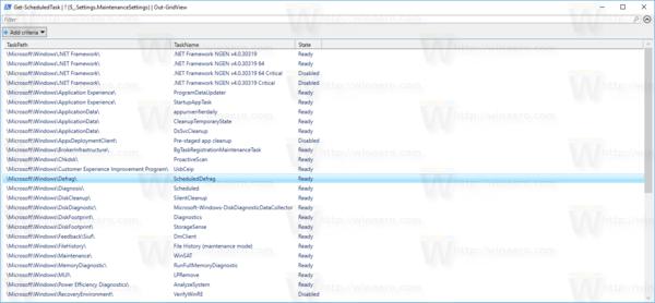 Windows 10 All Automatic Maintenance Tasks