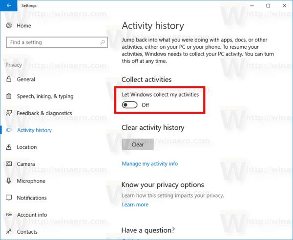 Windows 10 Disable Activity History