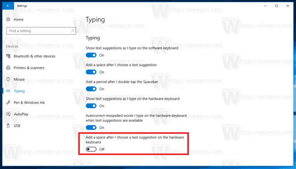 Windows 10 Disable Add Space Hardware Keyboard