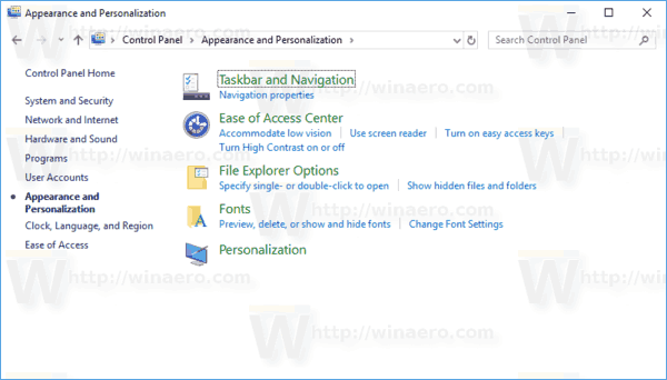 Appearance And Personalization Windows 10