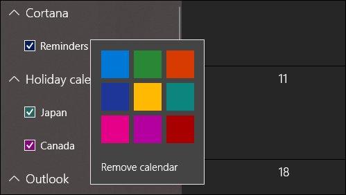 Current Calendar Colors