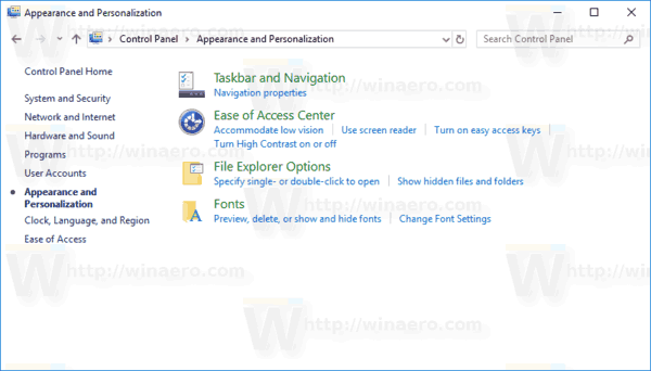 Default Appearance And Personalization Windows 10