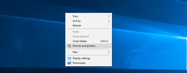 Devices And Printers Context Menu WIndows 10