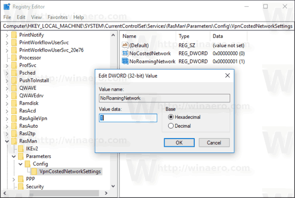 Disable VPN While Roaming In Windows 10