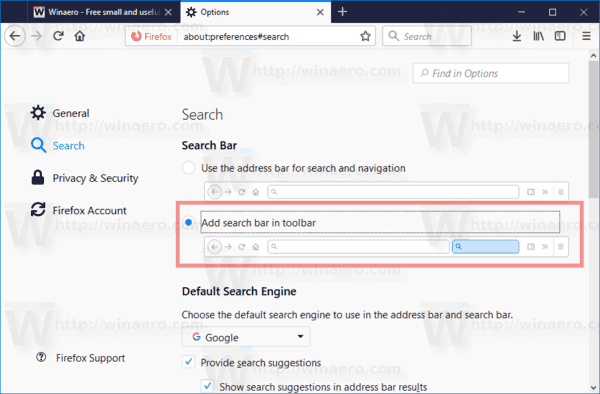 Firefox 57 Add Search Box