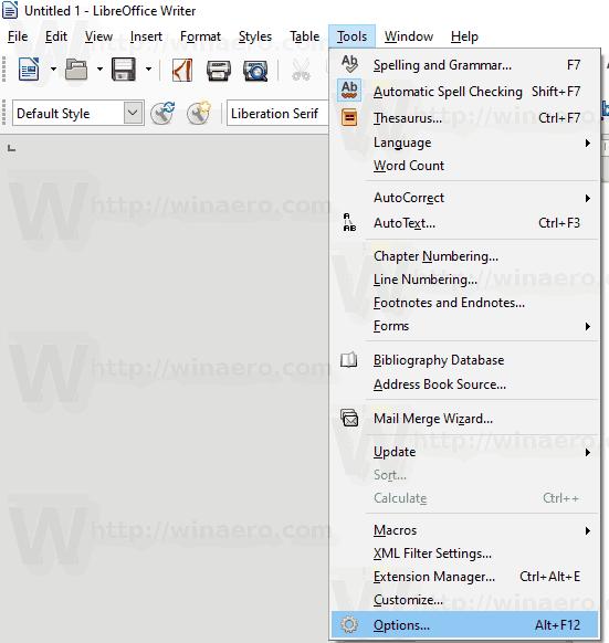 Libreoffice Open Options