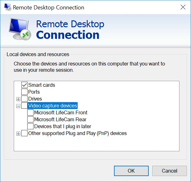 Windows 10 Will Allow Video Capture Device Redirection over RDP