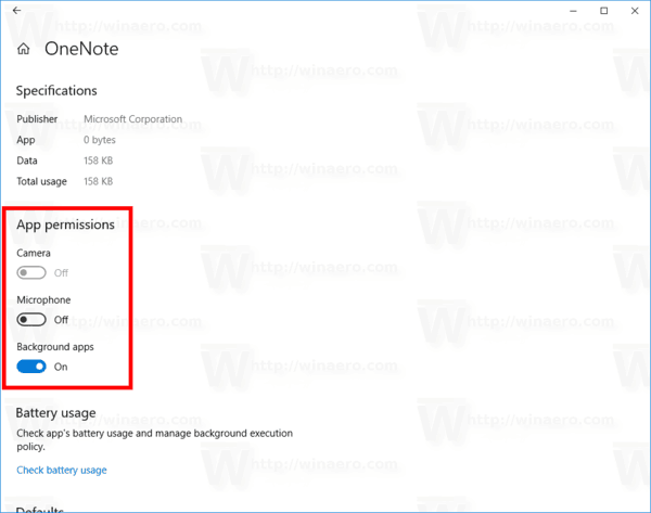 App Permissions Page Windows 10