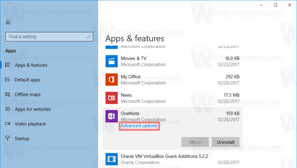 App Advanced Options Link Windows 10