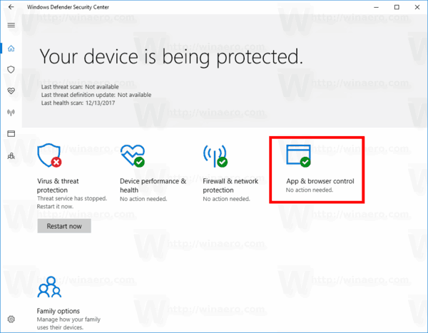 App And Browser Control Windows Defender