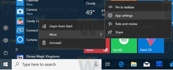 App Settings Menu Windows 10
