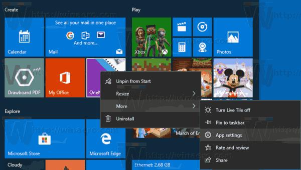 App Settings Tile Menu Windows 10