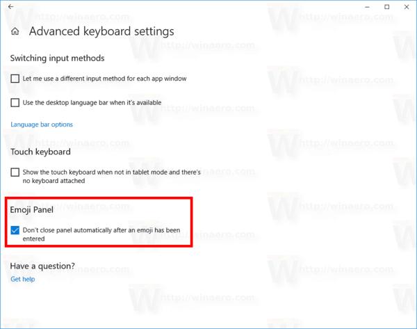 Auto Close Emoji Panel Windows 10