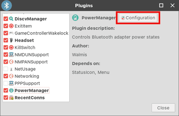 Blueman Plugins Dialog