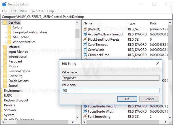 Change Drag Width Windows 10