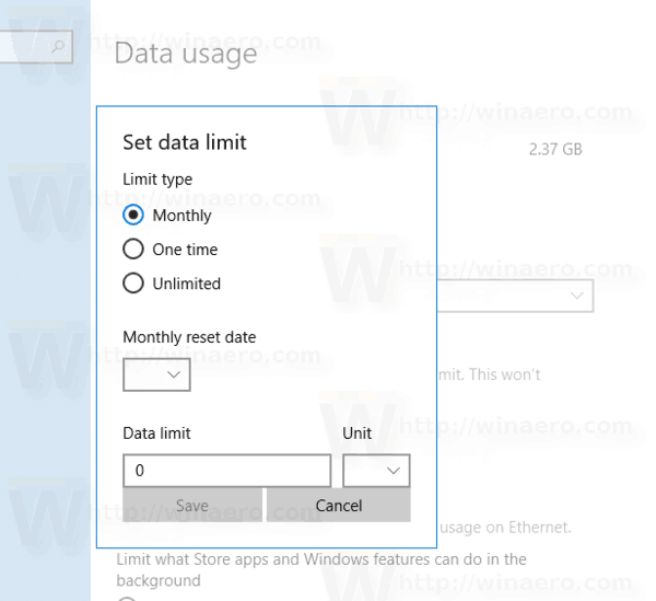 Set Data Limit for Wi-Fi and Ethernet in Windows 10
