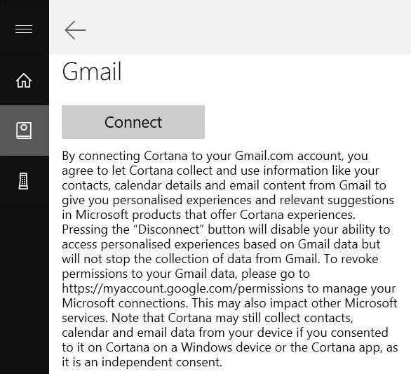 Cortana Connect Gmail Google Account 2