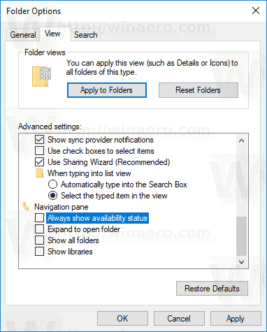 Disable OneDrive Cloud Icons in Navigation Pane in Windows 10