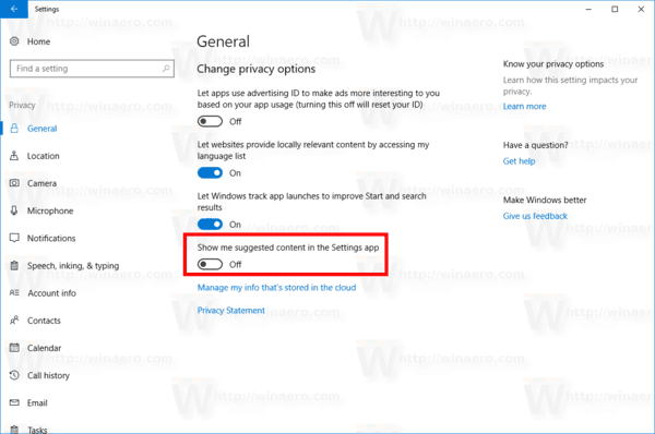 Disable Settings Ads In WIndows 10