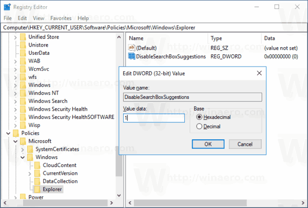 Disable Search History In File Explorer
