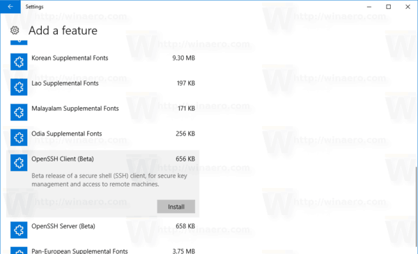 Enable OpenSSH Client In Windows 10