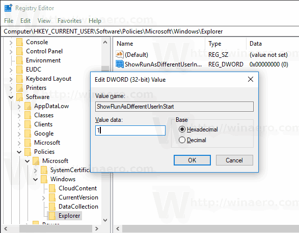 Enable Run As In Start Menu For The Current User
