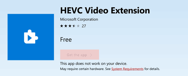 Get HEVC Decoder for Windows 10 Fall Creators Update