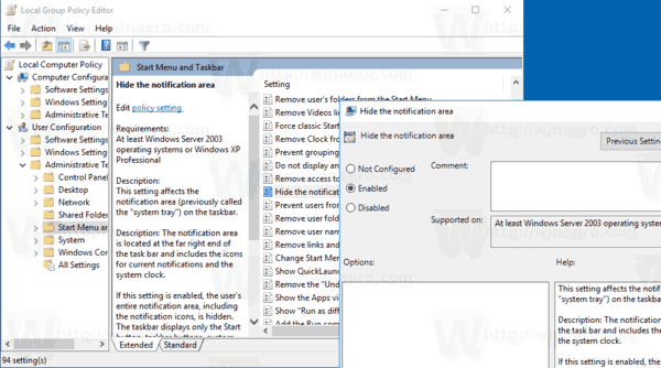 Hide Notification Area Windows 10 Group Policy