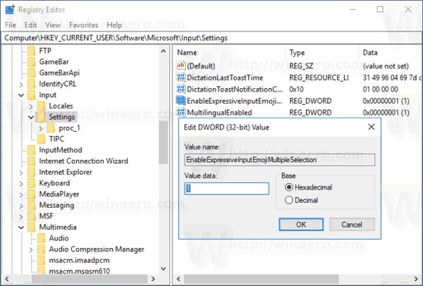 Keep Emoji Panel Open Windows 10 Registry Tweak